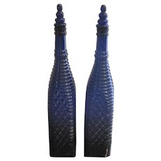 Pair of Antique Cobalt Blue Highly Ornate Bottles w/Glass Stoppers
