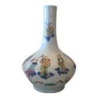 "Old Rare Hand Painted Famille Rose Chinese Fluted Vase - 14 1/2"" Tall"