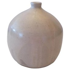 """Signed Fluted Top Dipped Glaze Pottery Vase - 5 1/2"""" Tall"""