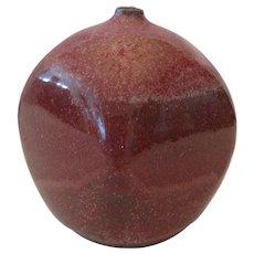 """Red Salt 3-Toned Fluted Pottery Vase - 5"""" Signed"""