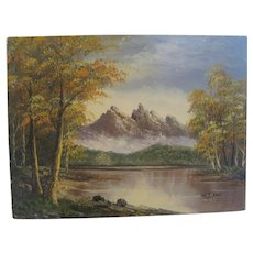 Oil on Canvas - Mountain/Lake Landscape - Signed W.Y.Yav.