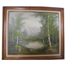 James Wallace Signed Oil on Canvas - Mountain/Lake Landscape