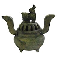 Japanese Iron Incense Burner - Foo Dog Lid & Raised Handles