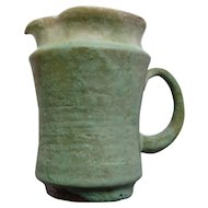 Old Marked Pottery Footed Pitcher w/Drip Glaze