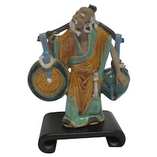 Chinese Hand Painted Pottery Figurine Man Packing A Scroll & Bag w/Stand