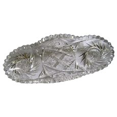 Cut Glass Star Spindle Tray w/Jagged Edges
