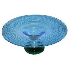 Signed Richard Blenko Art Glass Console Centerpiece - Blue/Green Designer Series 2000