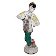 "Signed Porcelain Geisha Figurine - 10 1/2"" Tall"