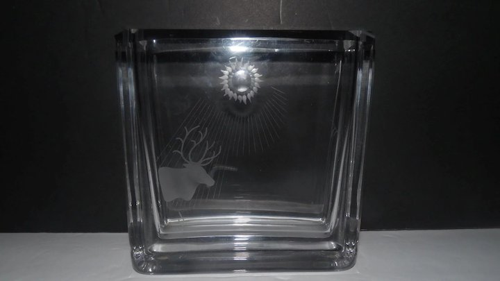 Signed Clear Heavy Glass Vase Feat Etched Elk W Sun Rays