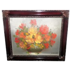 Signed Steiner Oil on Canvas Floral Painting