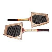 Pair of Red Jupiter International Precision Designed Tennis Rackets - by Snauwaert Belgium