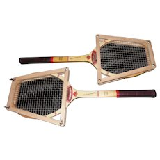 Pair of Red Jupiter International Precision Designed Tennis Rackets - by Snauwaert Belgium