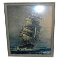 Late 1800's Print of Ship on the Ocean - No name found