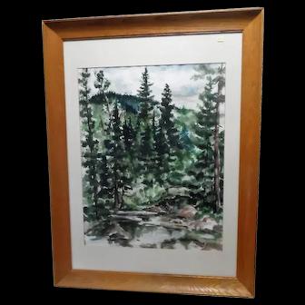 Ann Dunn Watercolor Landscape - w/Frame