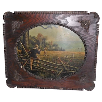 Late 1800's Hunting Print w/Ornate Wooden Frame