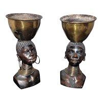 Pair of Bronze Heads w/Brass Jewelry & Pot on Head