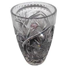 "Made in Poland - Hand Cut Lead Crystal Vase w/Pinwheel Cut - 8 1/2"" Tall"