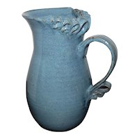 "Damian Signed Pottery Blue/Green Glazed Ribbon Pitcher - 8 3/4"" Tall"