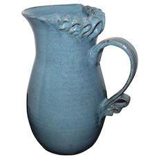 "Damian Signed Pottery Blue/Green Glazed Ribbon Pitcher - 8 3/4"" Tall"