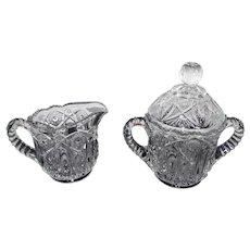 L.E. Smith Glass Company - Clear Cut Glass Cream & Sugar Set w/Sawtooth Top