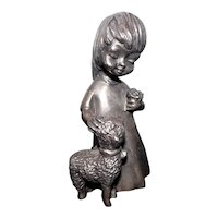 "Ampersand Pewter USA Heavy Paperweight - Girl w/Lamb - 3 3/4"" Tall"