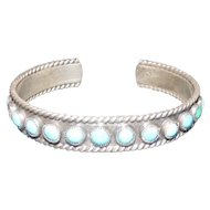 Pawn Silver Bracelet w/(13) Turquoise Stones - Rope Design