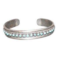 Pawn Silver Bracelet w/(35) Turquoise Stones