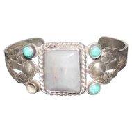 Thunderbird Navajo Pawn Silver Bracelet w/Grey/Blue Agate & Turquoise Stones