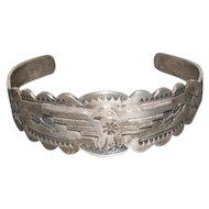Pawn Silver Thunderbird Navajo Bracelet Feat - Thunderbird/Sun/Feather