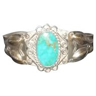 Pawn Silver Bracelet w/Turquoise Stone - Hand Hammered