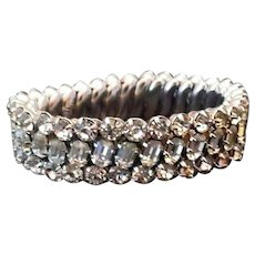 Vintage Pronged Rhinestone Cluster Bracelet - Stretch Band