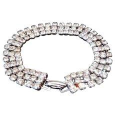 Vintage Pronged Rhinestone Clasp Bracelet