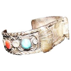 Pawn Silver Watch Band Bracelet - Feat. Coral & Turquoise Stones