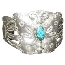 Pawn Silver Navajo Butterfly Bracelet w/Turquoise Stone