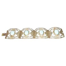 "Hecho En Mexico - Silver Pierced Design Turquoise Stone Clasp Bracelet - 7 1/4"" Long"
