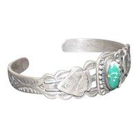 Navajo Crossed Arrow/Arrowhead Bracelet w/ Turquoise Stone