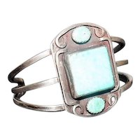 """Pawn Silver Bracelet w/ Turquoise Stones - 2 1/8"""" Wide"""