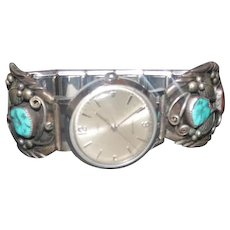 Sterling Navajo L.F. Watch Band w/Coral & Turquoise Stones