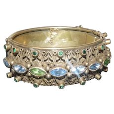 Sandor Co. Brass Floral Hinged Bracelet w/Blue & Green Glass Stones