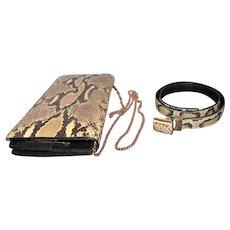 Diamond Rattlesnake/Leather Belt & Purse Set - L.F.B. Diamond Marked