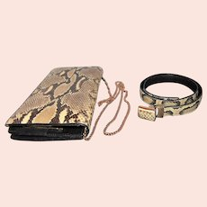 Diamond Rattlesnake/Leather Belt & Purse Set - L.F.B. Diamond Marked