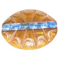 Amber & Blue Rhinestone Bakelite Brooch Pin