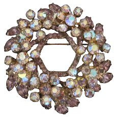 Vintage Rhinestone & Amethyst Glass Stone Wreath Designed Pin