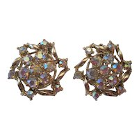 Pair of Vintage Rhinestone Clasp Earrings