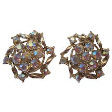 Pair of Vintage Rhinestone Clasp Earrings