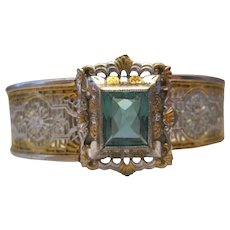 J.J.White Mfg. Co. Circa 1900 -14K White & Yellow Gold Aquamarine Bracelet w/Filigree Design