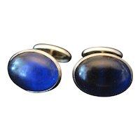 Royal Blue Celluloid Stone Cufflinks w/Silver Backing - Circa 1940's