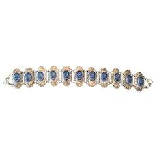 Czechoslavakia Bracelet Featuring (11) Blue Sapphire Rhinestones