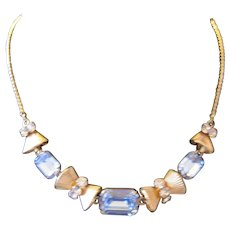 Van Dell Necklace Featuring Blue & Clear Rhinestones