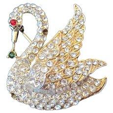 Elegant Vintage Swan Rhinestone Brooch Pin